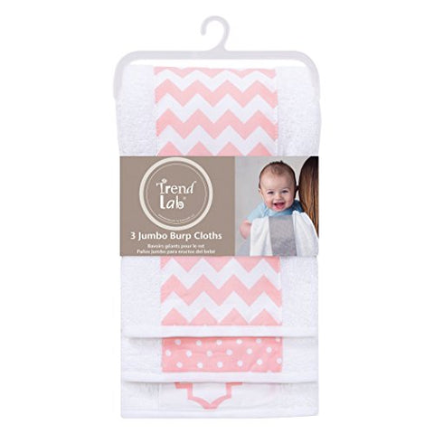 Trend Lab 3 Pack Jumbo Burp Cloth Set, Pink Sky