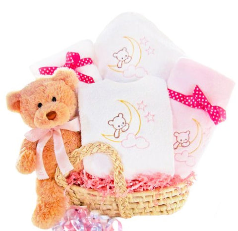 Bear Special Arrival Moses Basket for Girls Baby Gift Basket