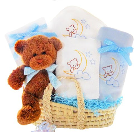 Bear Special Arrival Moses Basket for Boys Baby Gift Basket
