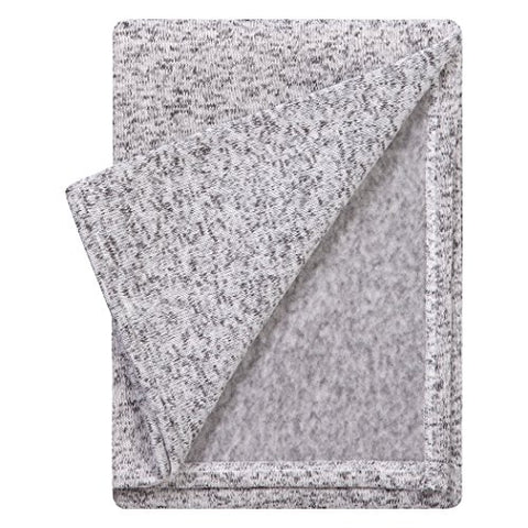 Trend Lab Receiving Soft Deluxe Sweatshirt Knit Baby Blanket, Heather Gray