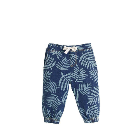 Harper Palm Print Denim Trousers