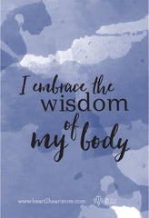 """I embrace the wisdom of my body"" Watercolor Birth Affirmation phone lock screen wallpaper"