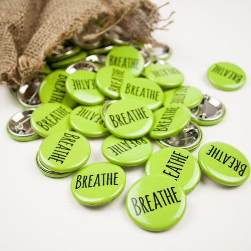 """Breathe"" Button 1.25"" Green"