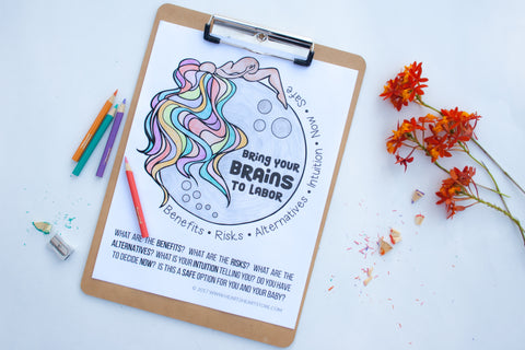 Bring Your BRAINS To Labor Coloring Page *Digital Download*