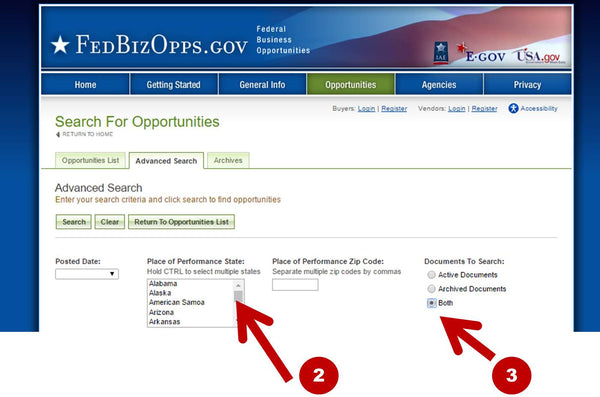 FedBizOpps Advanced Search Form
