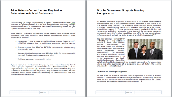 Sample Pages 10 - 11 (Subcontracting to DoD Prime Contractors)