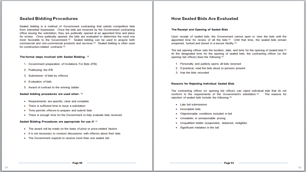 Sample Pages 40-41 - (How to Successfully Bid on Contracts at Military Bases)