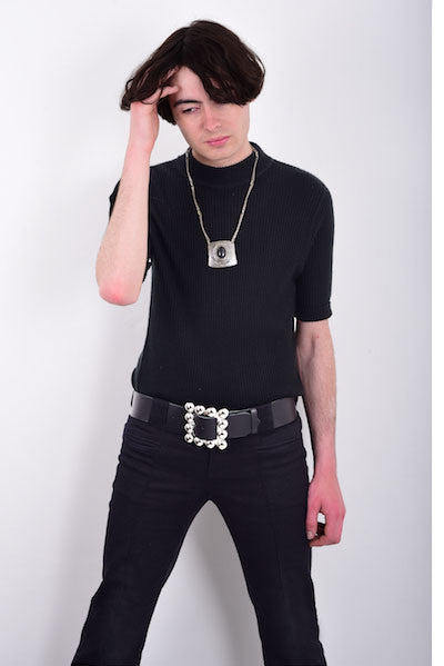 60s Style Black Leather Hip Belt with Square Buckle