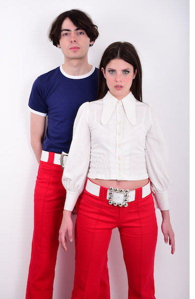 60s Style White Leather Hip Belt with Square Buckle