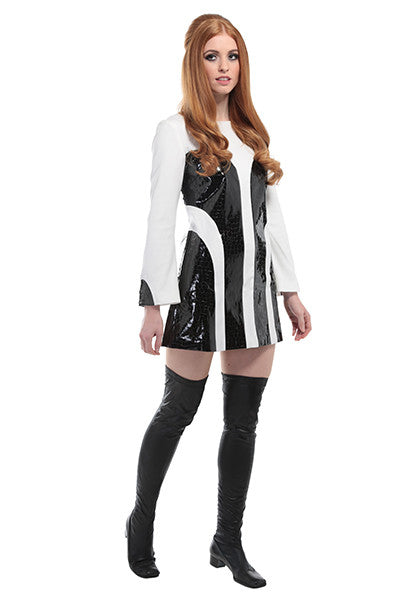 DandyLife 'Jaguar' 60s Style Mini Dress Black & White PVC