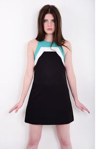 60s Style Black Racer Neck Mini Dress
