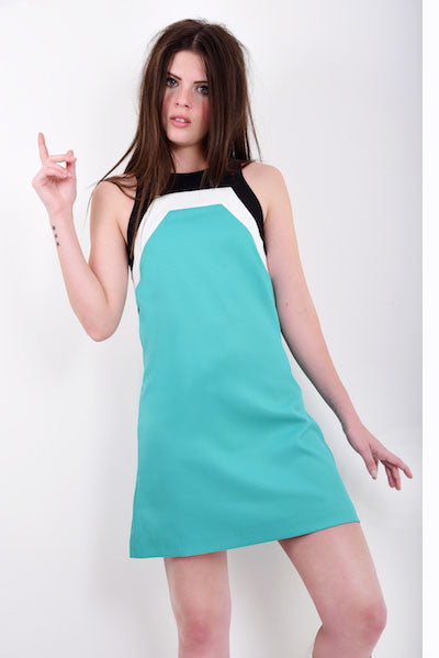 DandyLife 60s Mod Style Mini Dress in Teal