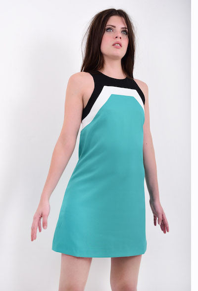 DandyLife 60s Style Racer Neck Mini Dress in Teal