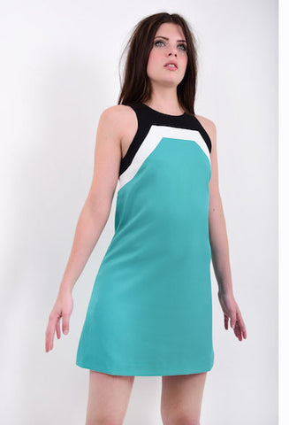 60s Style Racer Neck Mini Dress in Teal