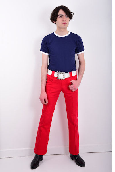 DandyLife Men's 60s Bootcut Trousers Flares in Red