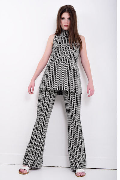 DandyLife Black & White Jersey Flared Pant Suit