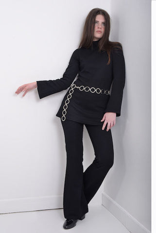 DandyLife Black Jersey Flare Sleeve Pant Suit