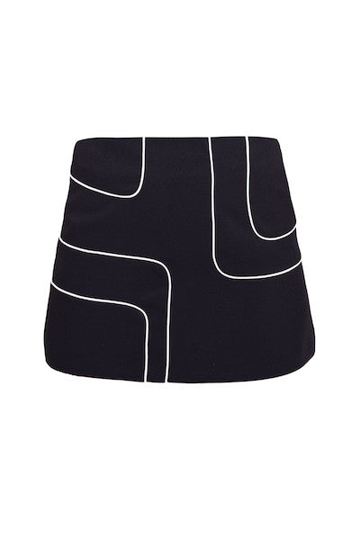 DandyLife 60s Style Black Mini Skirt with Op Art Squares