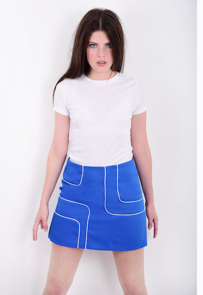 DandyLife 60s Style Blue Mini Skirt with Op Art Squares