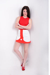 DandyLife 60s Style Op Art Mini Skirt White & Red