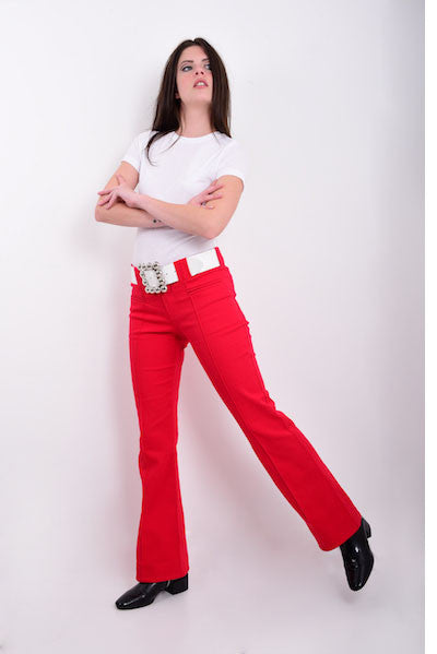 DandyLife Women's 60s Bootcut Trousers Flares in Red