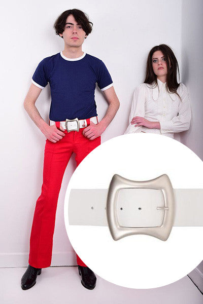 60s Style Belt With Square Silver Buckle