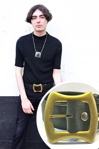60s Style Unisex Black Leather Belt with Large Brass Buckle