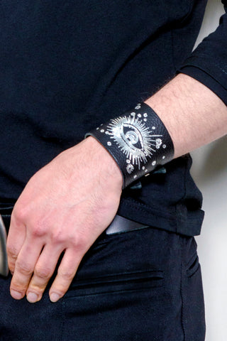 Unisex Black Leather Wristband with Silver or Gold Foil Print