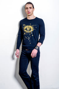 'Seeing Stars' Men's Psych T-shirt with Gold Foil Print