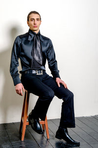 'Wilde' 60s Dandy Style Men's Shirt in Black Satin