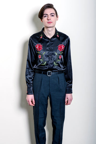 Faris Badwan Optical Illusion Embroidered Satin Shirt