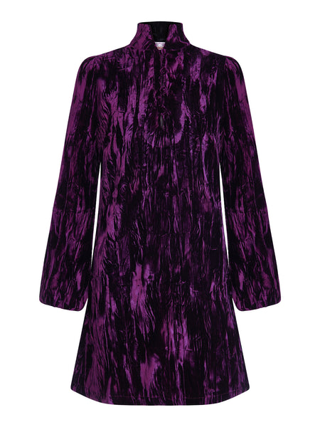 DandyLife 60s Style Purple Velvet Mini Dress