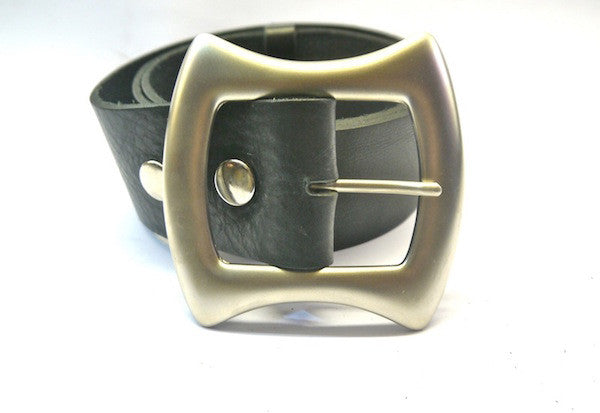 60s Style Belt with Silver Buckle in Black Leather