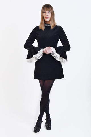 60s Victorian Dress in Velvet & Lace