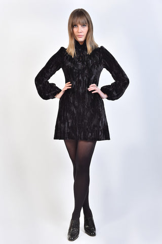 60s Style 'Iride' Dress in Black Velvet