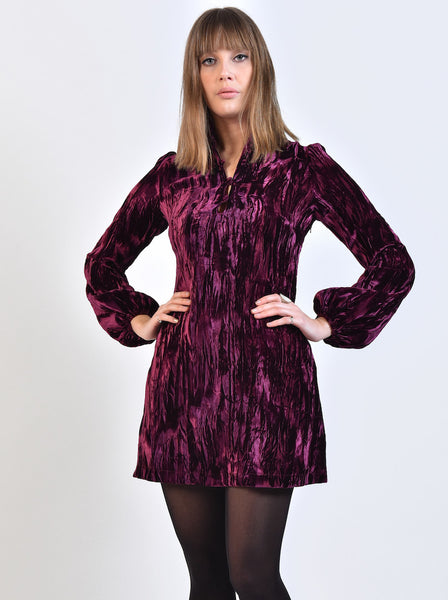 DandyLife 60s Style Crushed Velvet Mini Dress