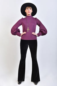 'Metropolis' Bishop Sleeve Top in Purple Jersey