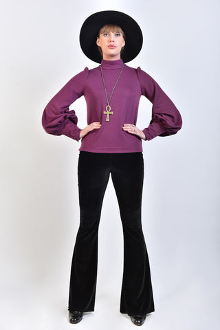'Metropolis' 60s Style Top with Bishop Sleeves in Purple Jersey