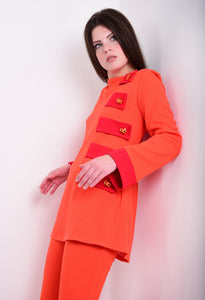 DandyLife 60s Style Orange & Red Jersey Flared Pant Suit