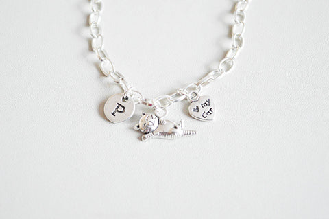 Cat Bracelet, Cat Lover Gift, Cat Charm Bracelet, Cat Jewellery, Cat Jewelry, Cat lover , pet lover , loss of Cat, I love my cat, pet gift - YouLoveYouShop
