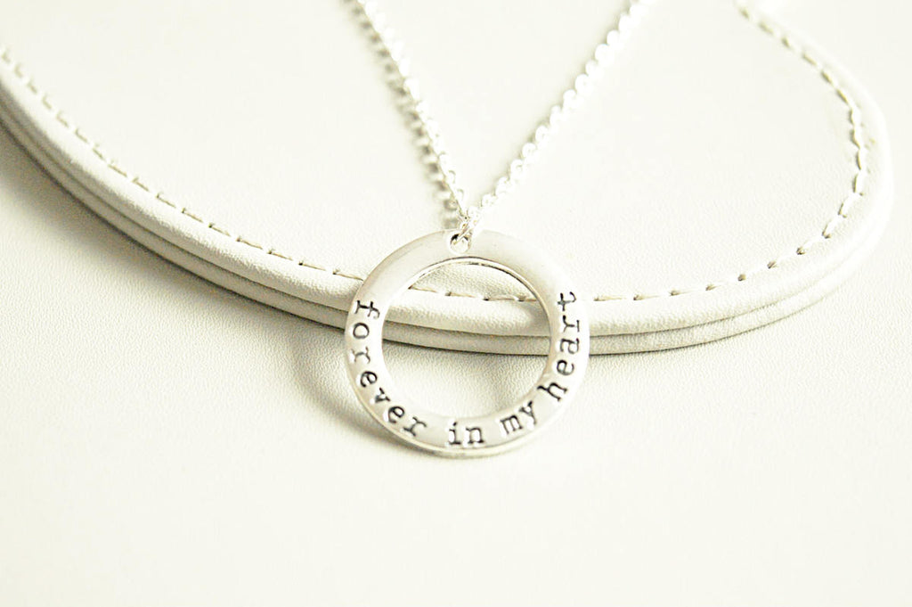 Miscarriage Necklace, Forever In My Heart , Sterling Silver, Memorial Necklace, RIP Necklace, Sympathy Gift, remembrance jewelry gift - YouLoveYouShop