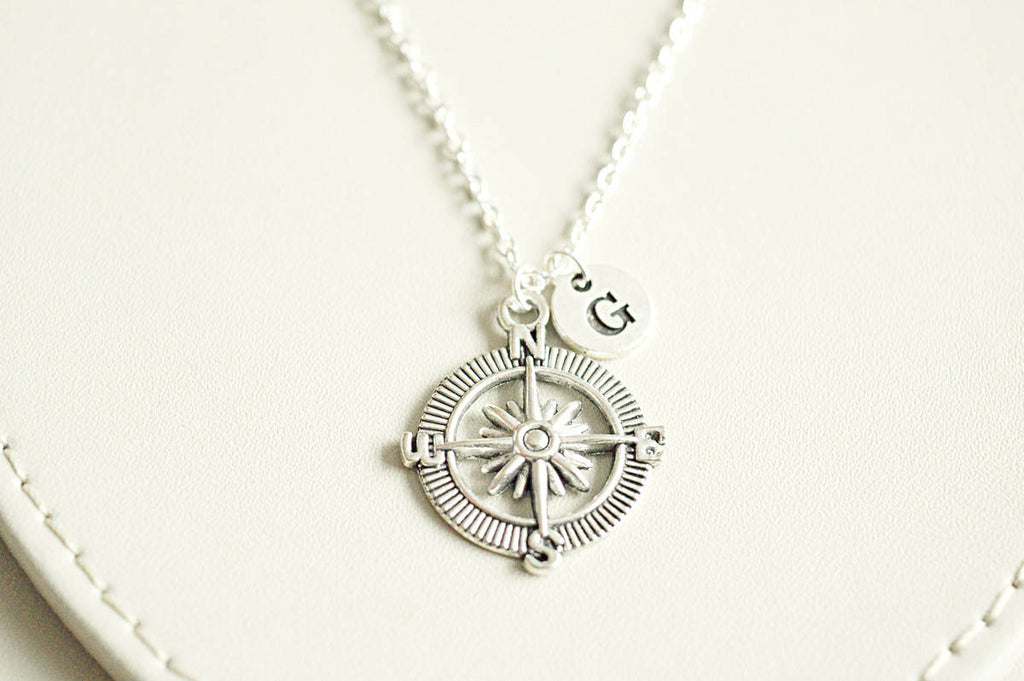 Silver Compass Necklace, Personalized Compass, Initial Birthstone, Sterling Compass Charm, Graduation Gift, Travel Gift, Compass Jewelry, - YouLoveYouShop