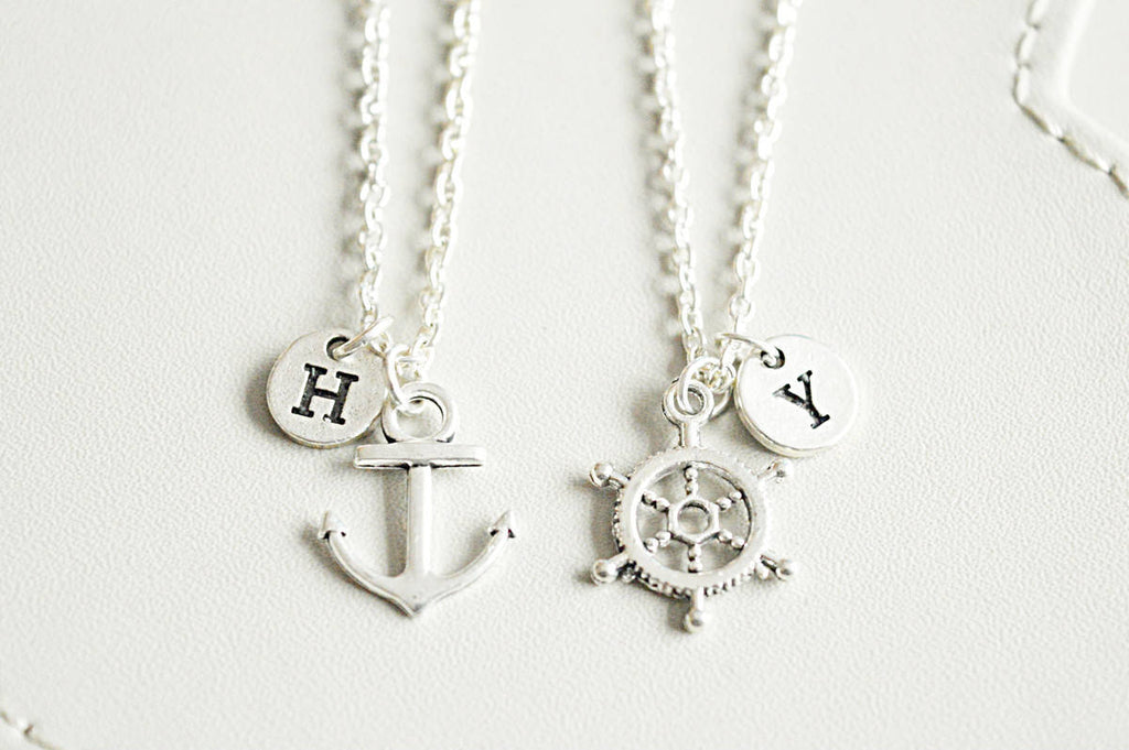 Anchor and Ship Wheel Necklace Set