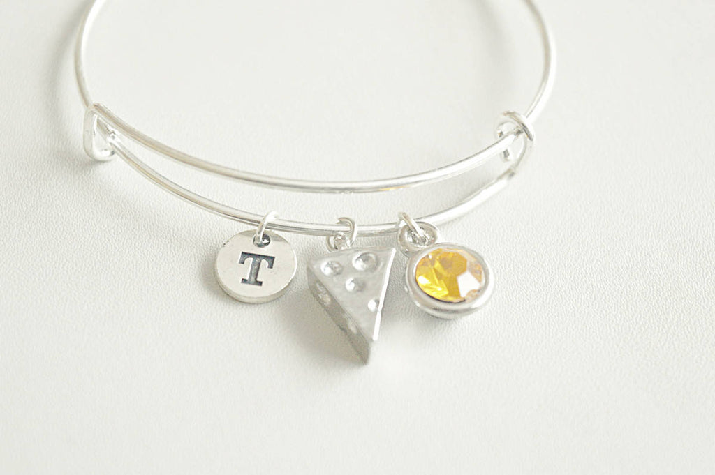 Cheese Bracelet, Cheese Gift, Cheese Jewelry, Birthday Gift for her, Foodie gift, French Gift, Chef bracelet, Bangle for her, Cheese Pendant