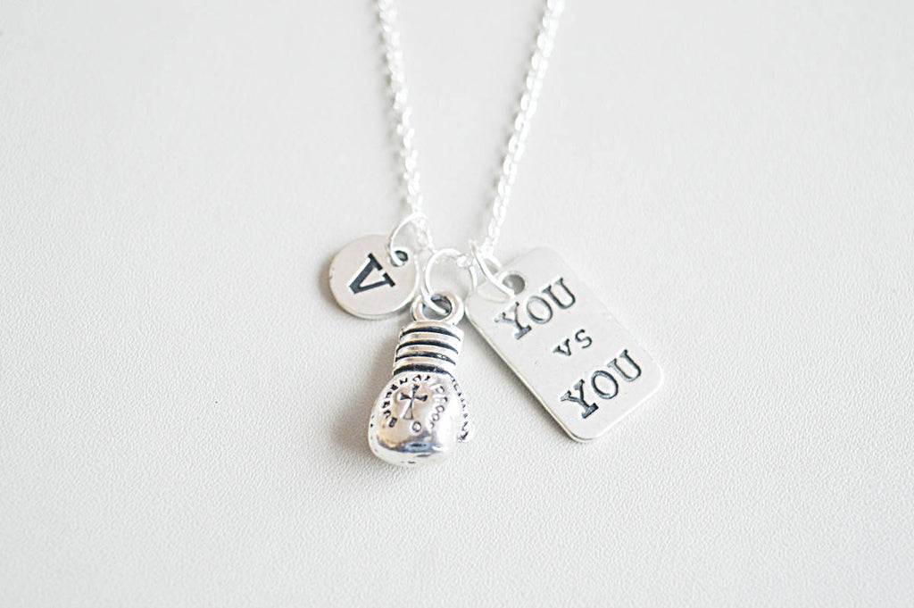 You vs you, Boxing necklace, Boxing jewelry, Boxing glove charm, Boxing glove jewelry, Boxing gift, Sports necklace, Muay thai, Fighter, - YouLoveYouShop