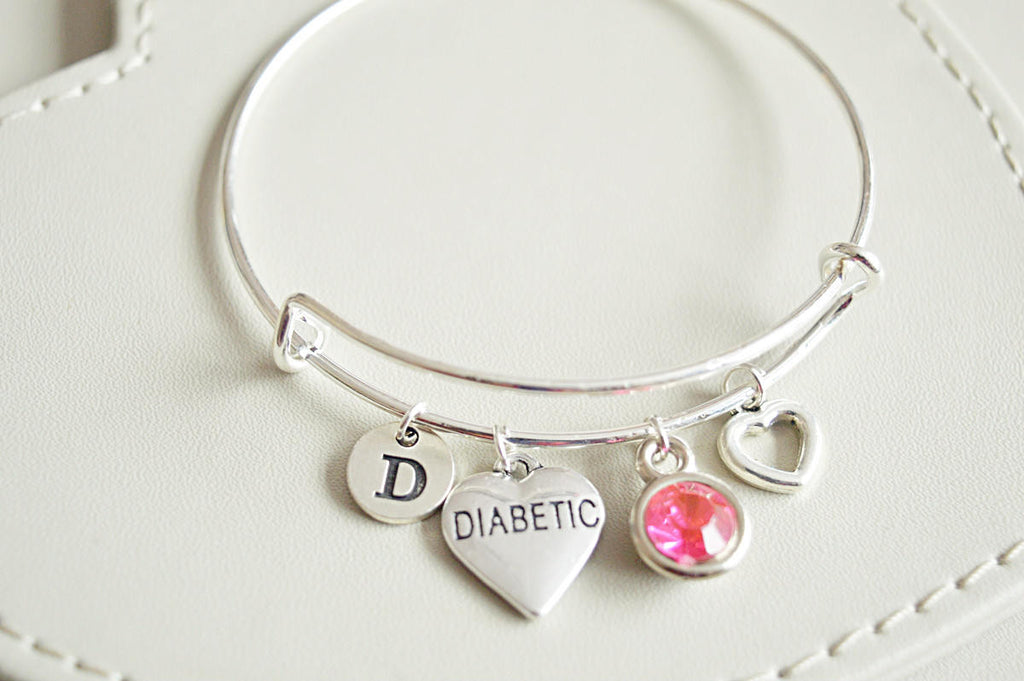Diabetic Bracelet, diabetic charm, diabetic alert bracelet,diabetic accessories,Diabetes, Medical Alert, Diabetic, Awareness, Type 1, Type 2