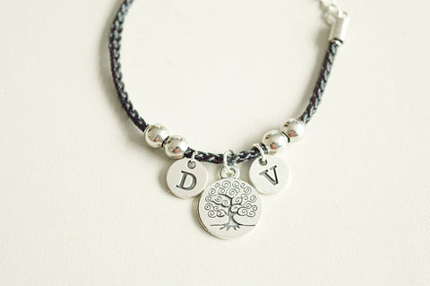 Family Tree Bracelet, Tree of Life Bangle, Tree of Life Bracelet, Personalized Charm Bracelet, Personalized Family Gift, Initial birthstone - YouLoveYouShop