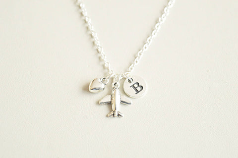 Best friend necklace, airplane necklace, best friend gift, airplane jewelry, initial necklace, bff necklace, travel jewelry, gift for friend - YouLoveYouShop