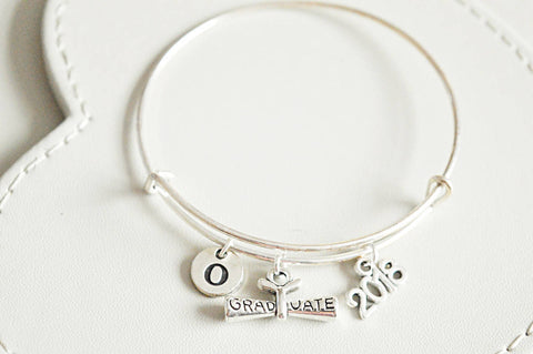 Graduation Bracelet, Graduation bangle, Personalized Graduation Gift 2018, Hand Stamped Graduation Jewelry Graduate Bracelet 2018, College - YouLoveYouShop