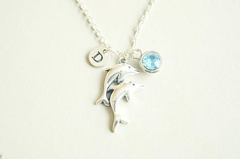 Dolphin Necklace, Dolphin charm necklace, Dolphin Gift, Dolphin Jewelry, Two Dolphins, Sea-life, Ocean, Sisters, BFF, Friends, Birthday gift